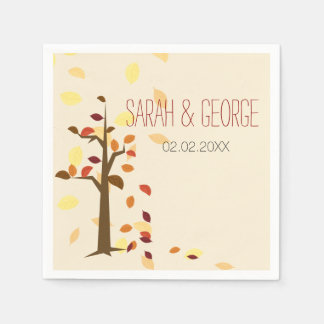 fall tree,  fall personalized wedding napkins