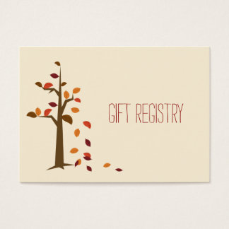 Fall tree,  fall wedding gift registry business card