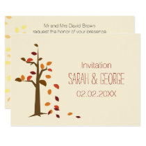fall tree, fall wedding Invitations