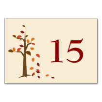 Fall tree, fall wedding table numbers