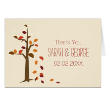 Fall, tree fall wedding Thank You Card
