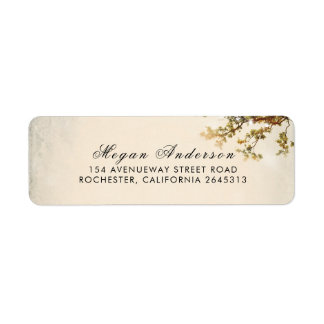 Fall Tree Leaves and Branches Rustic Wedding Label