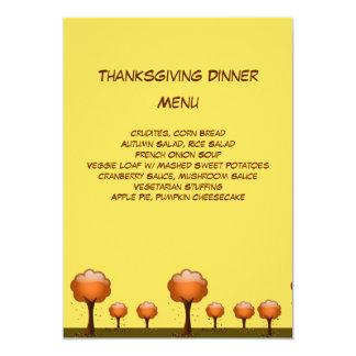 Fall Tree & Leaves Scene Thanksgiving Dinner Menu Card