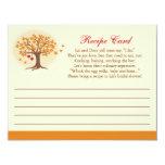 "Fall Tree Recipe Card Invitation 4.25"" X 5.5"" Invitation Card"