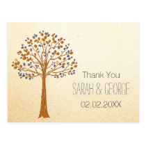 fall tree, Rustic Fall Wedding Thank You Postcard