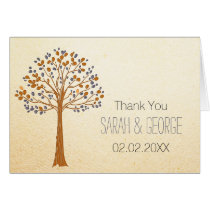 Fall tree, Rustic Fall WeddingThank You Card