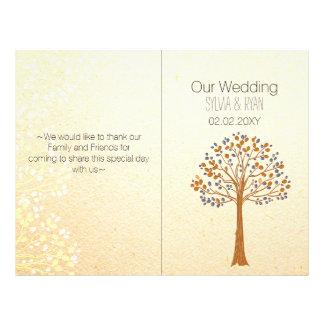 Fall tree,Rustic Wedding bi fold Wedding program Personalized Flyer