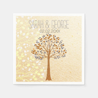 fall tree, Rustic Wedding personalized napkins
