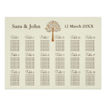 Fall tree Rustic wedding Seating Chart