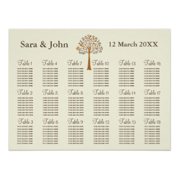 Fall tree Rustic wedding Seating Chart