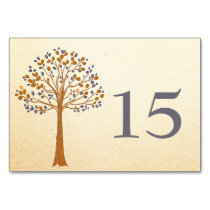 Fall tree, Rustic Wedding table numbers