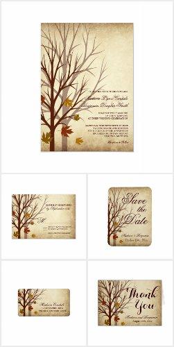 Fall Tree Silhouette Autumn Wedding Invitation Set
