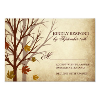 Fall Tree Silhouettes Autumn Wedding RSVP Cards
