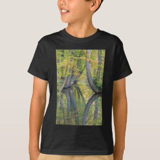 Fall tree trunks with reflection in forest water T-Shirt