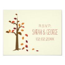 fall tree wedding rsvp cards