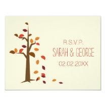 fall tree wedding rsvp cards