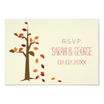fall tree wedding rsvp standard 3.5 x 5 card