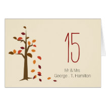 fall tree wedding table seating card