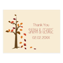 fall tree wedding Thank You Postcard