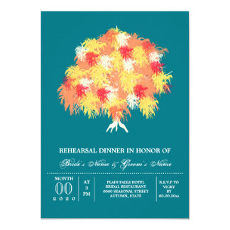 Fall tree weeping willow fern 5x7 paper invitation card
