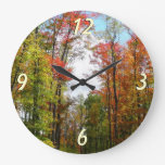 Fall Trees and Blue Sky Autumn Nature Photography Large Clock