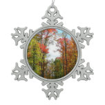Fall Trees and Blue Sky Autumn Nature Photography Snowflake Pewter Christmas Ornament
