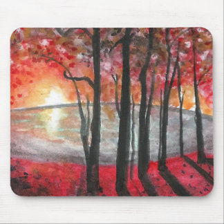 Fall Trees at Sunset Mousepad