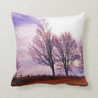 Fall Trees & Farm Fences Pasture Art Throw Pillow