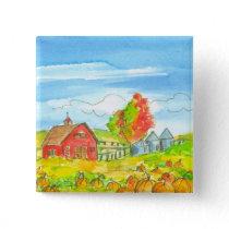 Fall Trees Pumpkin Patch Red Barn Pinback Button