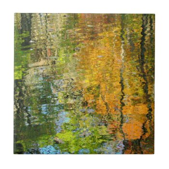 """""""fall Trees Reflected In Water""""ceramic Tile/trivet Tile by whatawonderfulworld at Zazzle"""