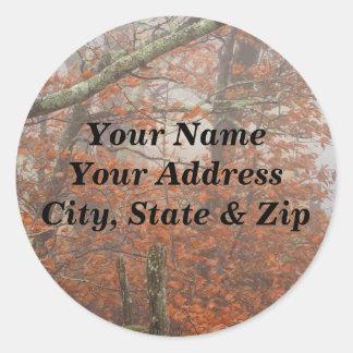 Fall trees, split rail fence classic round sticker