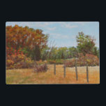 """Fall Trees w Fence 2 Sided Plastic Placemat<br><div class=""""desc"""">This image is from the painting called &quot;Montana Gardens&quot; by Carol Zirkle. Montana in the fall is a wild,  beautiful place!! This is a typical scene near by. So PRETTY!!!!</div>"""