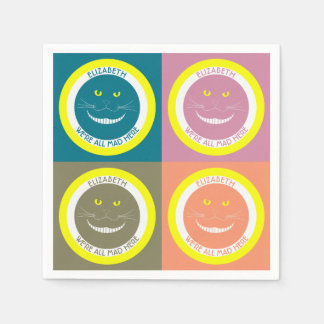 Fall Trendy Pastel Colors Cheshire Smiling Cat Napkin