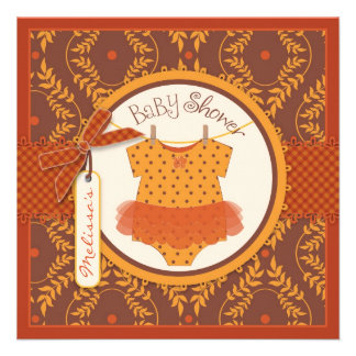 Fall Tutu and Autumn Damask Vine Baby Shower Personalized Invites