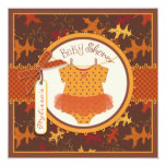 Fall Tutu and Autumn Leaves Baby Shower Card