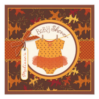 Fall Tutu and Autumn Leaves Baby Shower Invitation