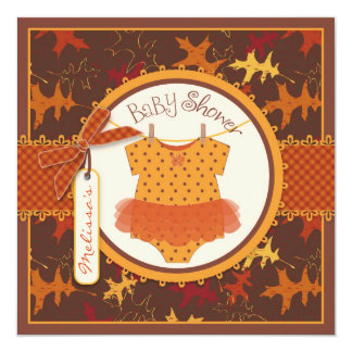 "Fall Tutu and Autumn Leaves Baby Shower 5.25"" Square Invitation Card"