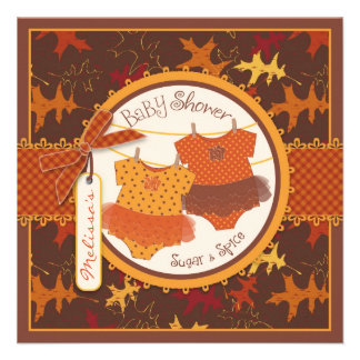 Fall Tutus Autumn Leaves Twin Girls Baby Shower Personalized Invitation