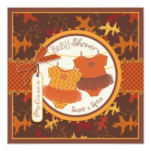 Fall Tutus & Autumn Leaves Twin Girls Baby Shower Personalized Invitation