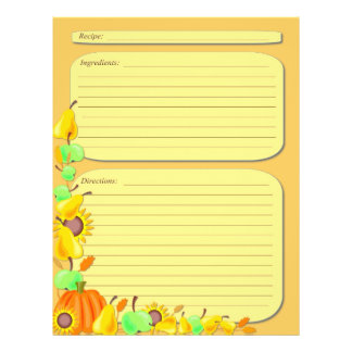 Fall vegetables theme recipe page