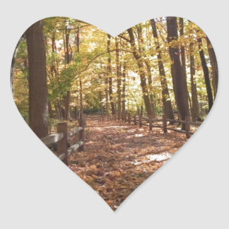 Fall walk in the park and changing colors heart sticker