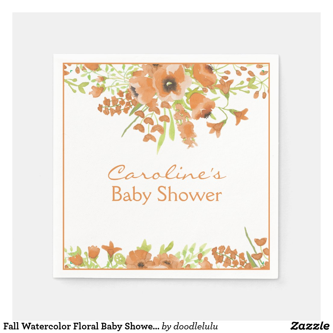 Fall Watercolor Floral Baby Shower Napkin