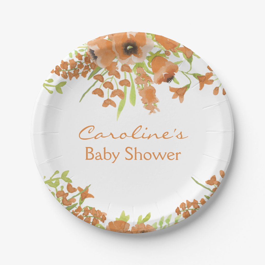 Fall Watercolor Floral Baby Shower Paper Plate