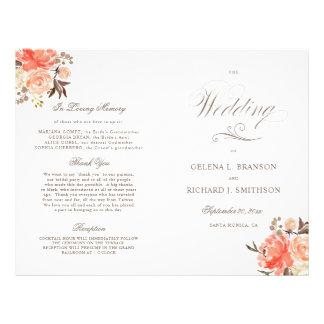 Fall Watercolor Floral Folded Wedding Program