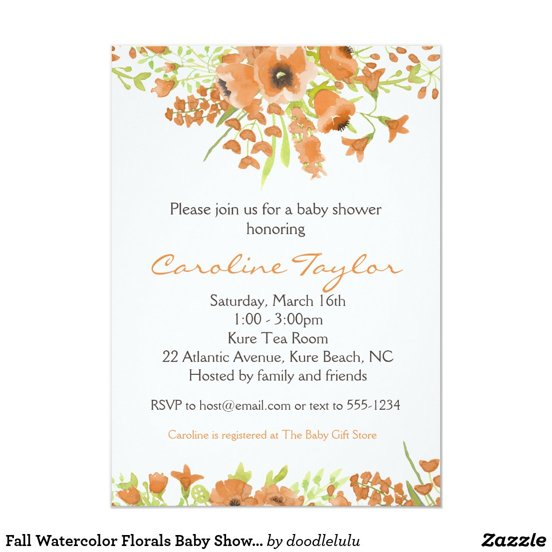 Fall Watercolor Florals Baby Shower Invitation