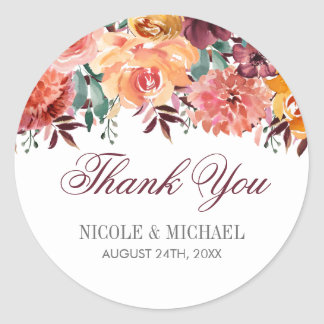 Fall Watercolor Flowers Wedding Favor Thank You Classic Round Sticker