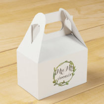 Fall Watercolor Green Leaves Wedding Favor Box