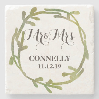 Fall Watercolor Green Leaves Wedding Stone Coaster