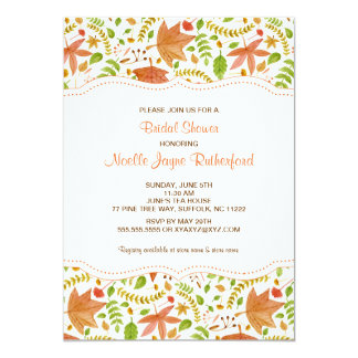 Fall Watercolor leaves bridal or baby shower 5x7 Paper Invitation Card