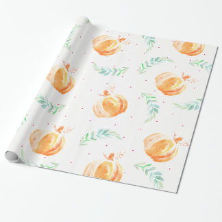 Fall Watercolor Pumpkins & Green Laurels Wrapping Paper